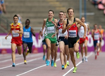 TAMPERE, FINLAND - JULY 14: Pieter-Jan Hannes of Belgium leads in the Final of The Men's 1500m during day four of The European Athletics U23 Championships 2013 on July 14, 2013 in Tampere, Finland. (Photo by Ian MacNicol/Getty Images)